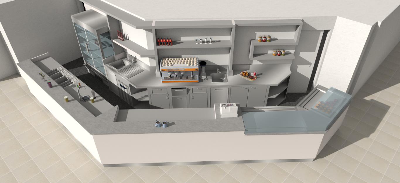 Render realizzato per il nuovo angolo bar presente alle Piscine Comunali di Gorgonzola