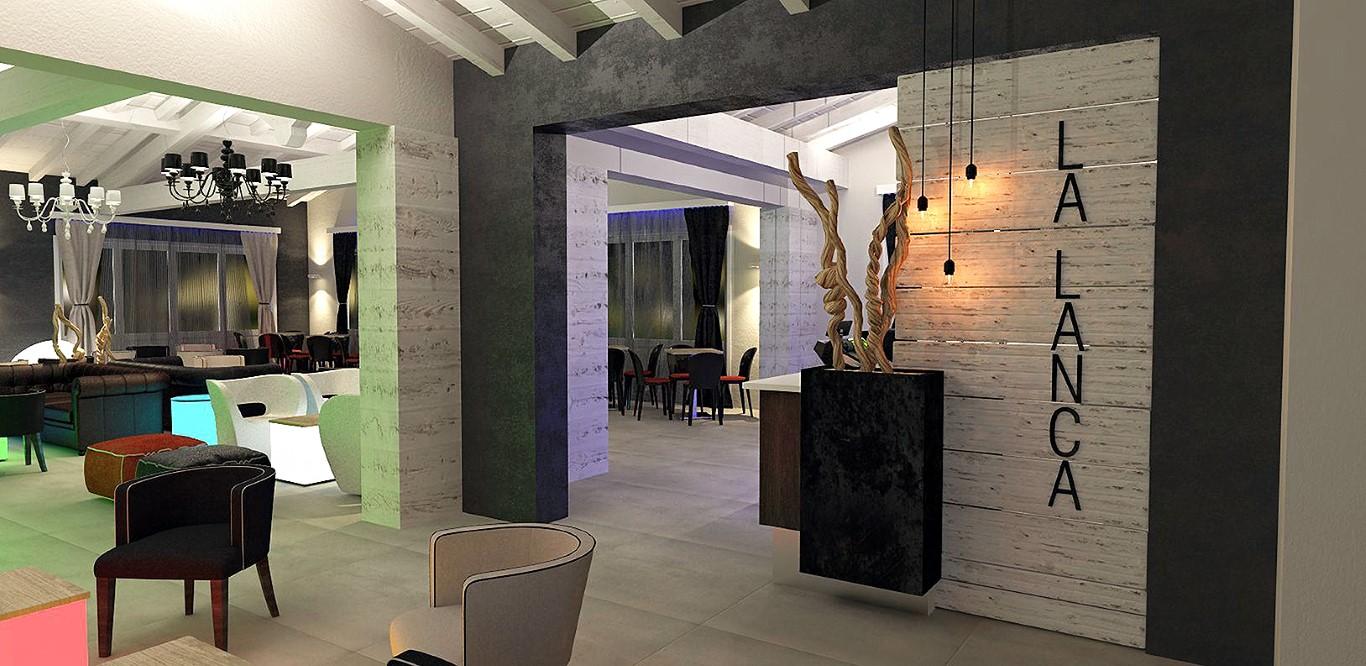 Particolare degli interni del Lounge Bar Ristorante La Lanca con vista sul logo