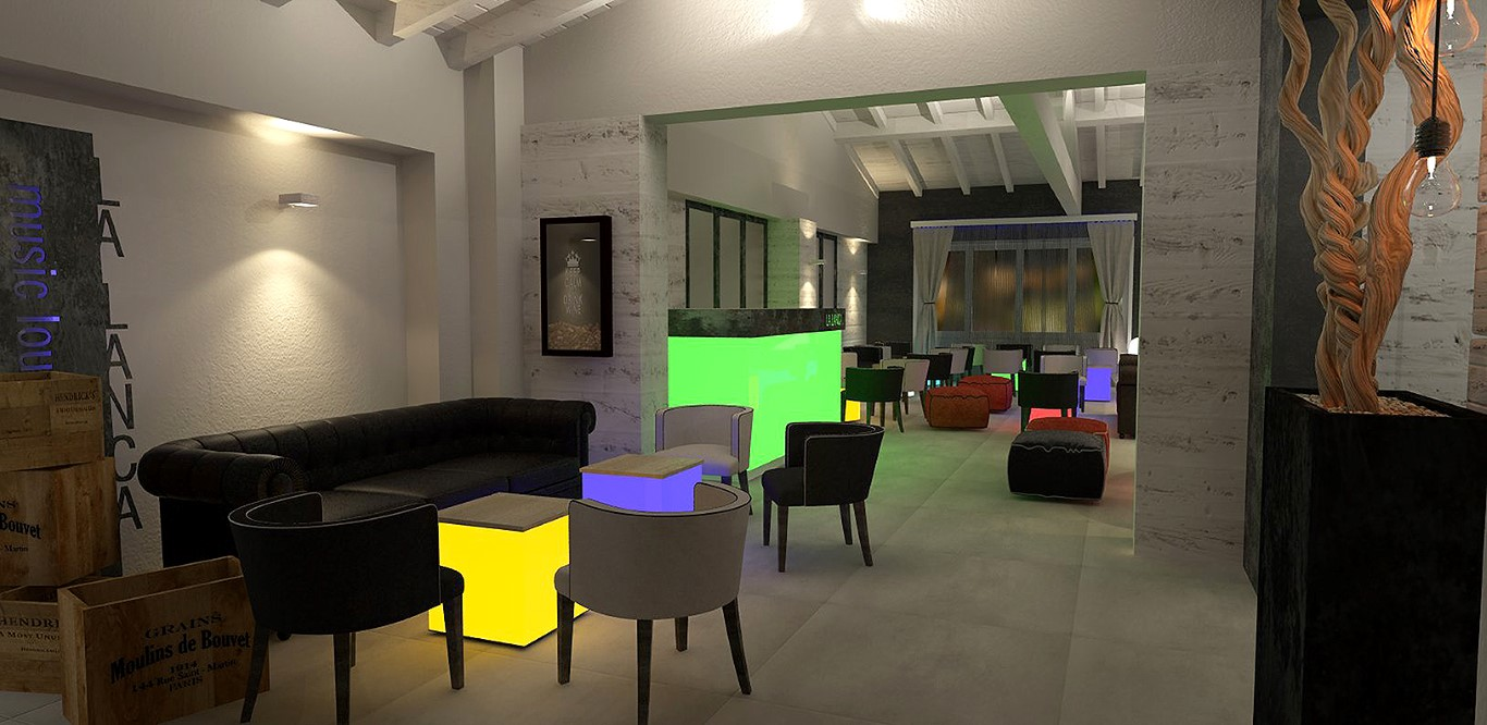 Saletta con cubi illuminati con luce led presso il Lounge Bar Ristorante La Lanca