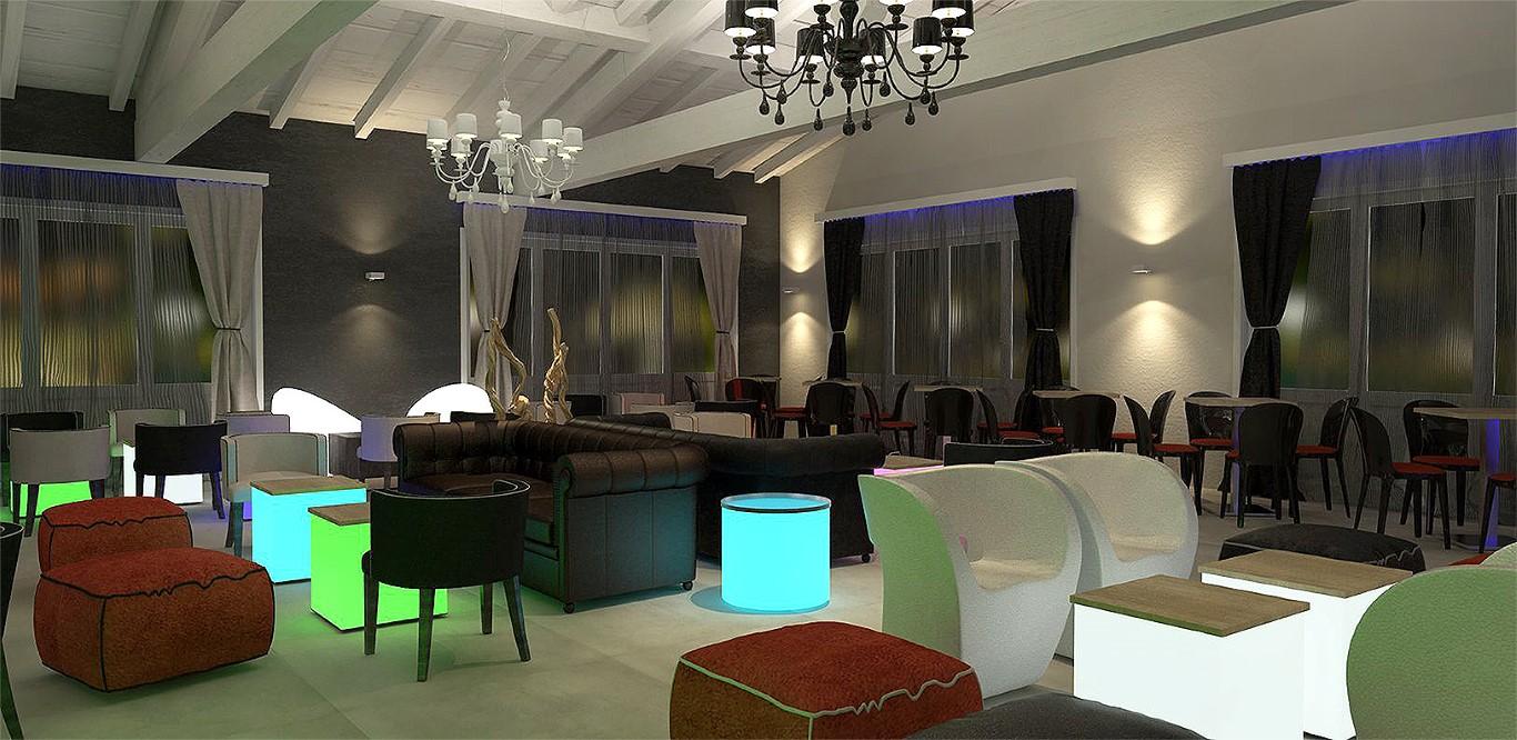 """Render salone illuminato la sera al Lounge Bar Ristorante """"La Lanca"""" a Fara Gera d'Adda, Bergamo"""