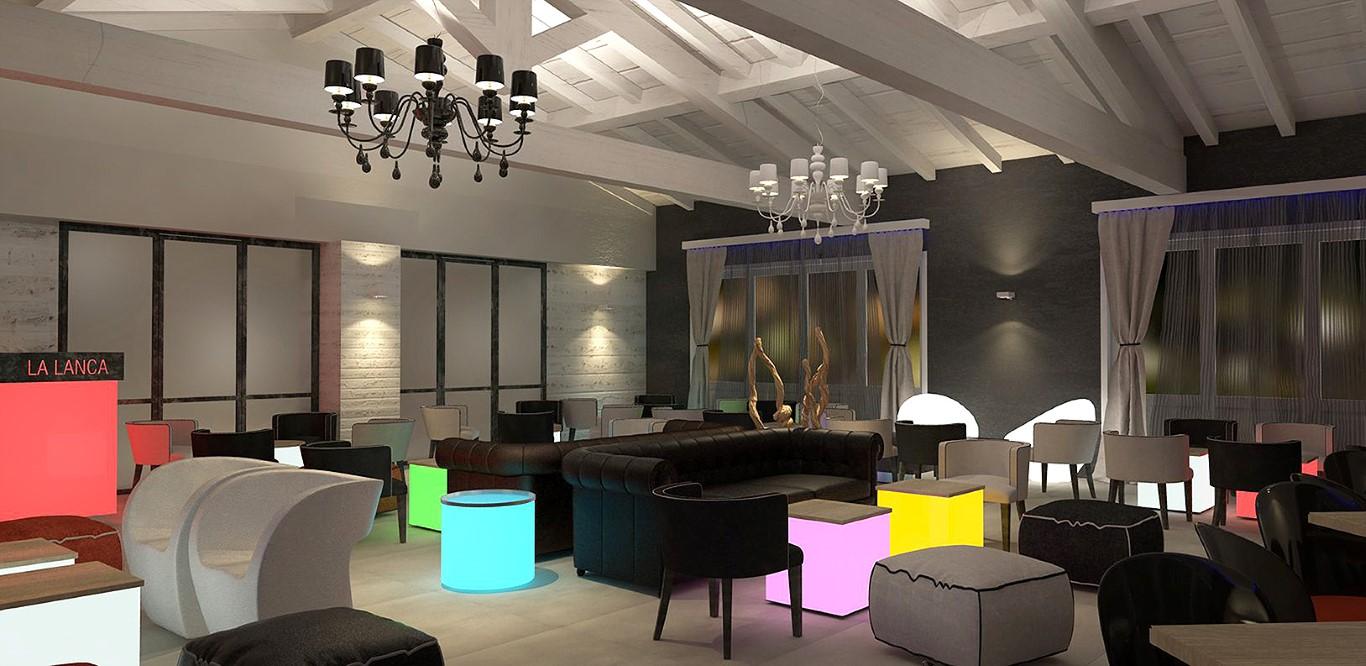 """Immagine di possibile arredo con illuminazione serale al Lounge Bar Ristorante """"La Lanca"""" a Fara Gera d'Adda, Bergamo"""