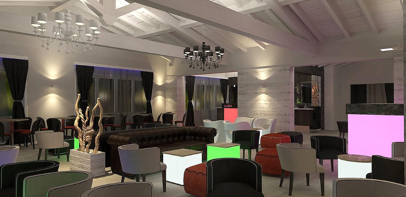 Render panoramico della sala principale del Lounge Bar Ristorante La Lanca