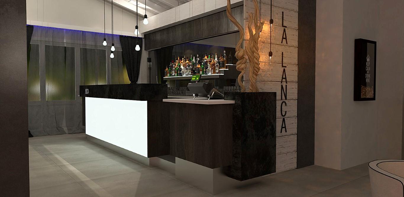 Prospetto del banco bar situato presso il Lounge Bar Ristorante La Lanca