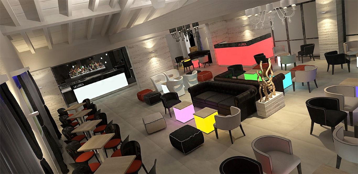 Render di vista dall'alto del Lounge Bar Ristorante La Lanca