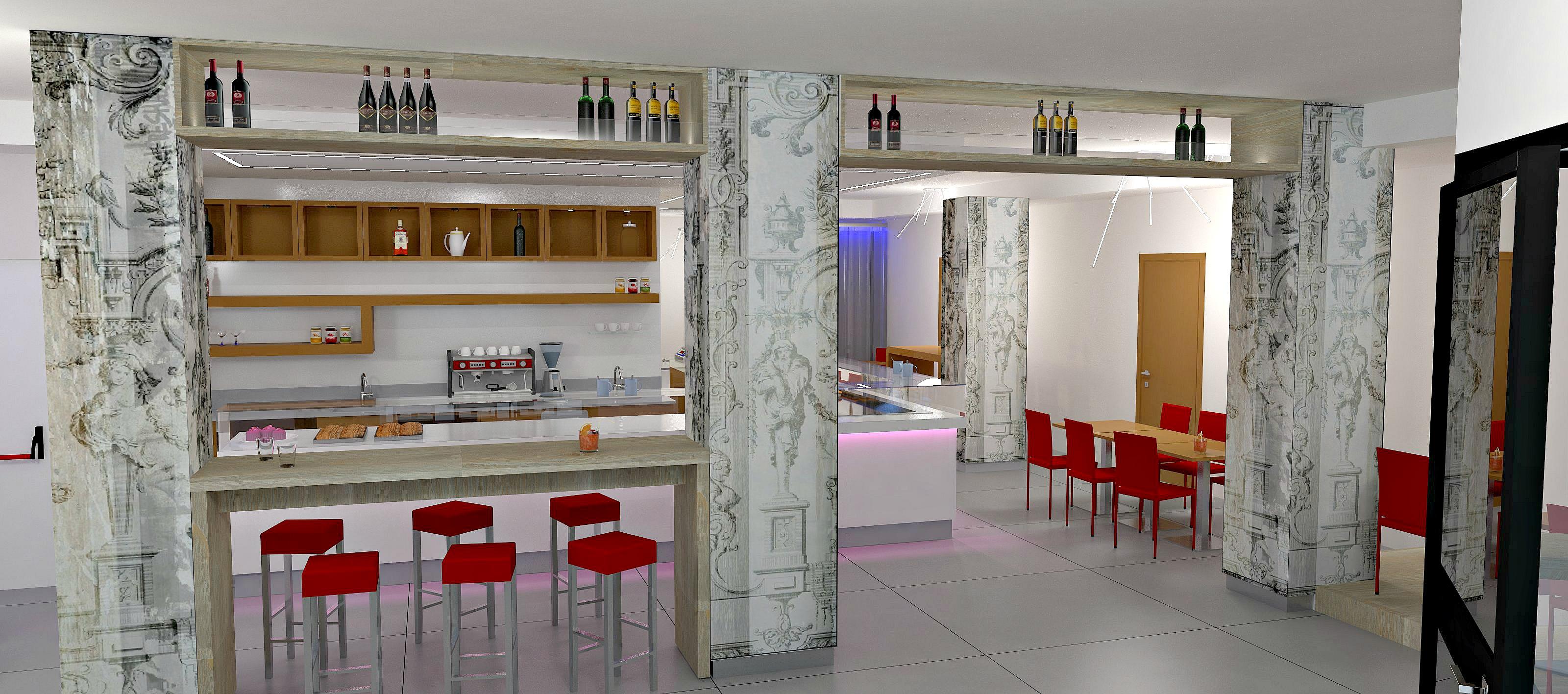 Immagine di un progetto preliminare per l'arredamento della Caffetteria Panificio Good Morning a Lissone, Brescia