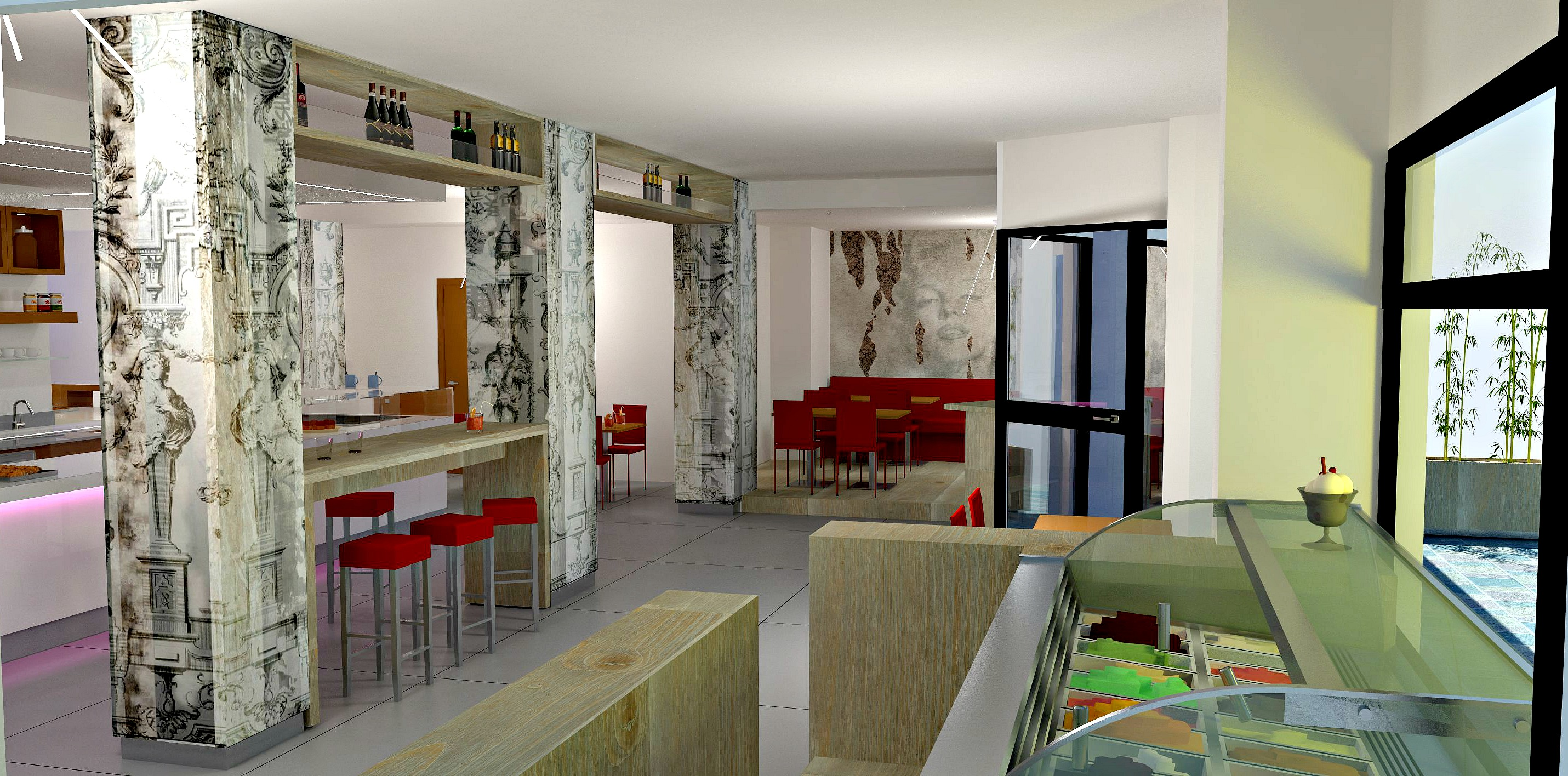 Render dell'interno della Caffetteria Panificio Good Morning a Lissone, Brescia