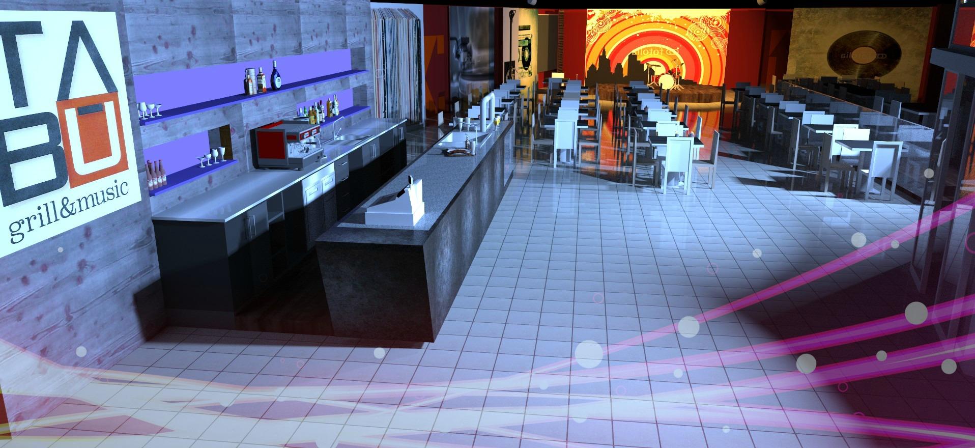 Render per la nuova sala del Tabù Food & Music a Paderno Dugnano, Milano