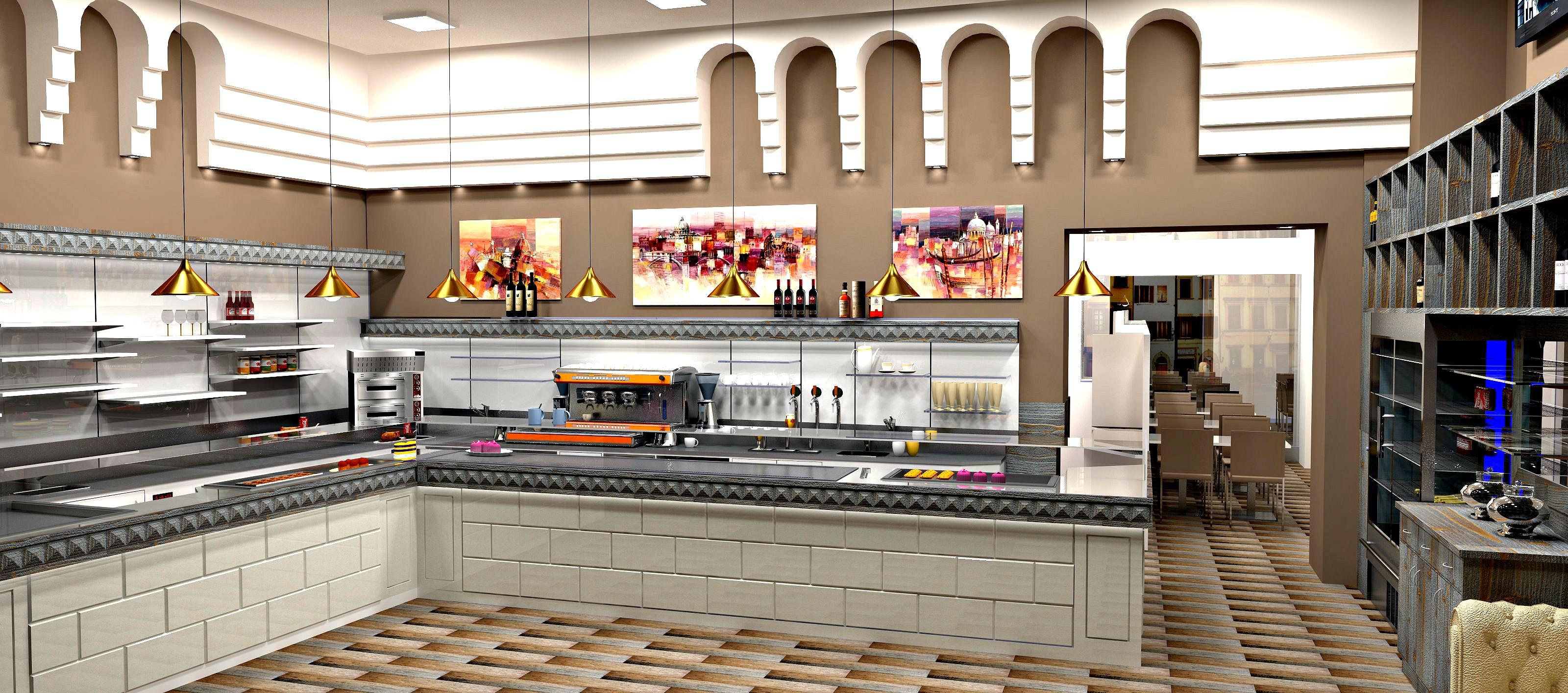 Foto del nuovo progetto di arredo interno per il Cafè Olimpia a Milano