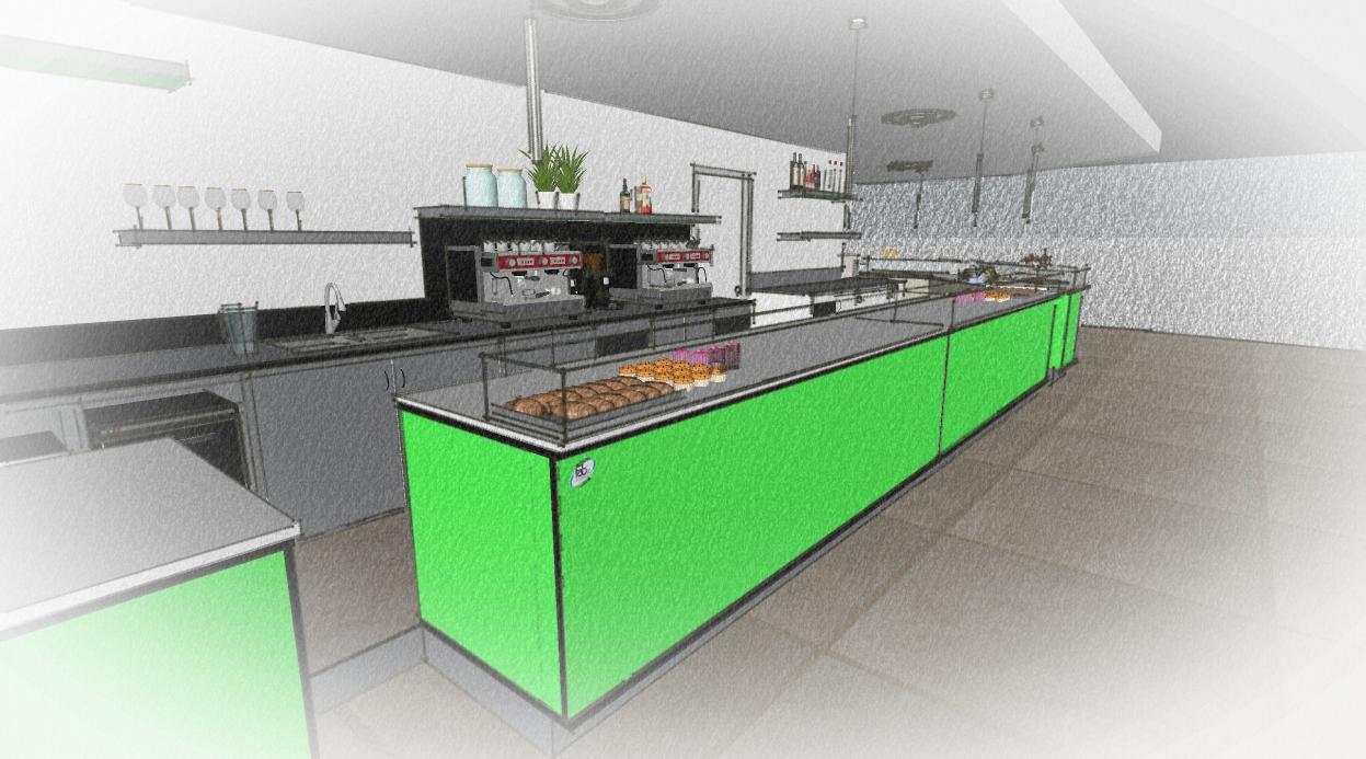 Bozzetto di realizzazione dell'arredo interno del Bar Caffetteria Pelikan's presso l'Iper Coop a Treviglio, Bergamo