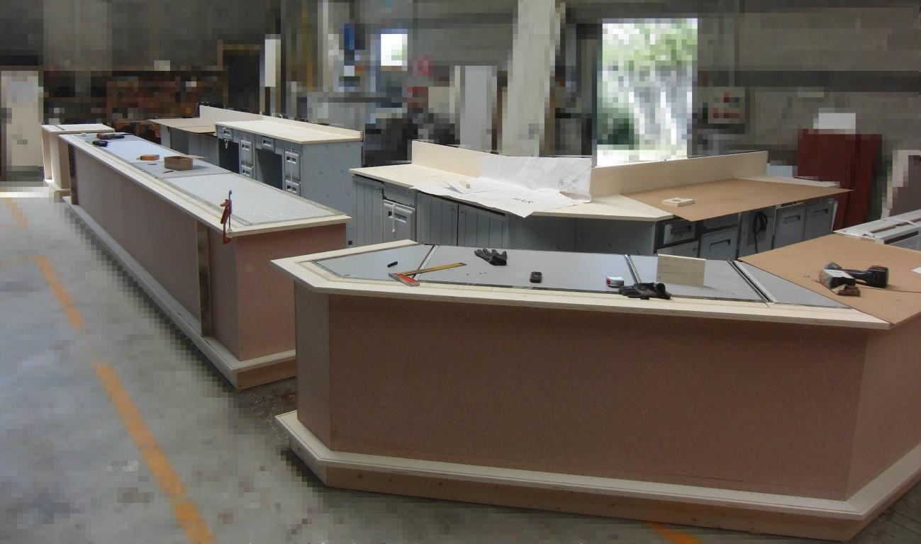 Particolare della fase di realizzazione del banco principale del Ristorante Wine Gate 11 presso l'Aeroporto di Orio al Serio