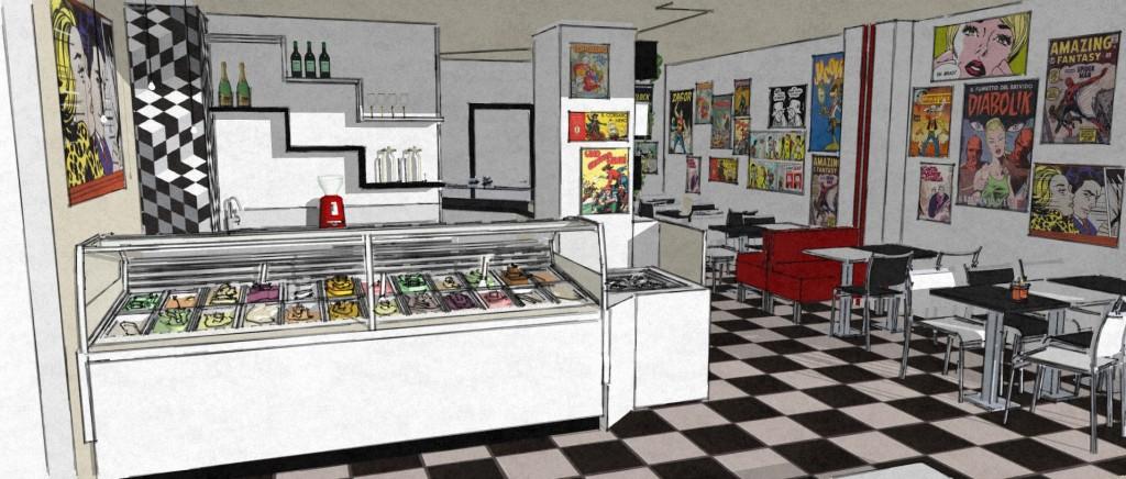 Immagine di un possibile progetto realizzativo della Gelateria Caffetteria Rembrandt a Milano