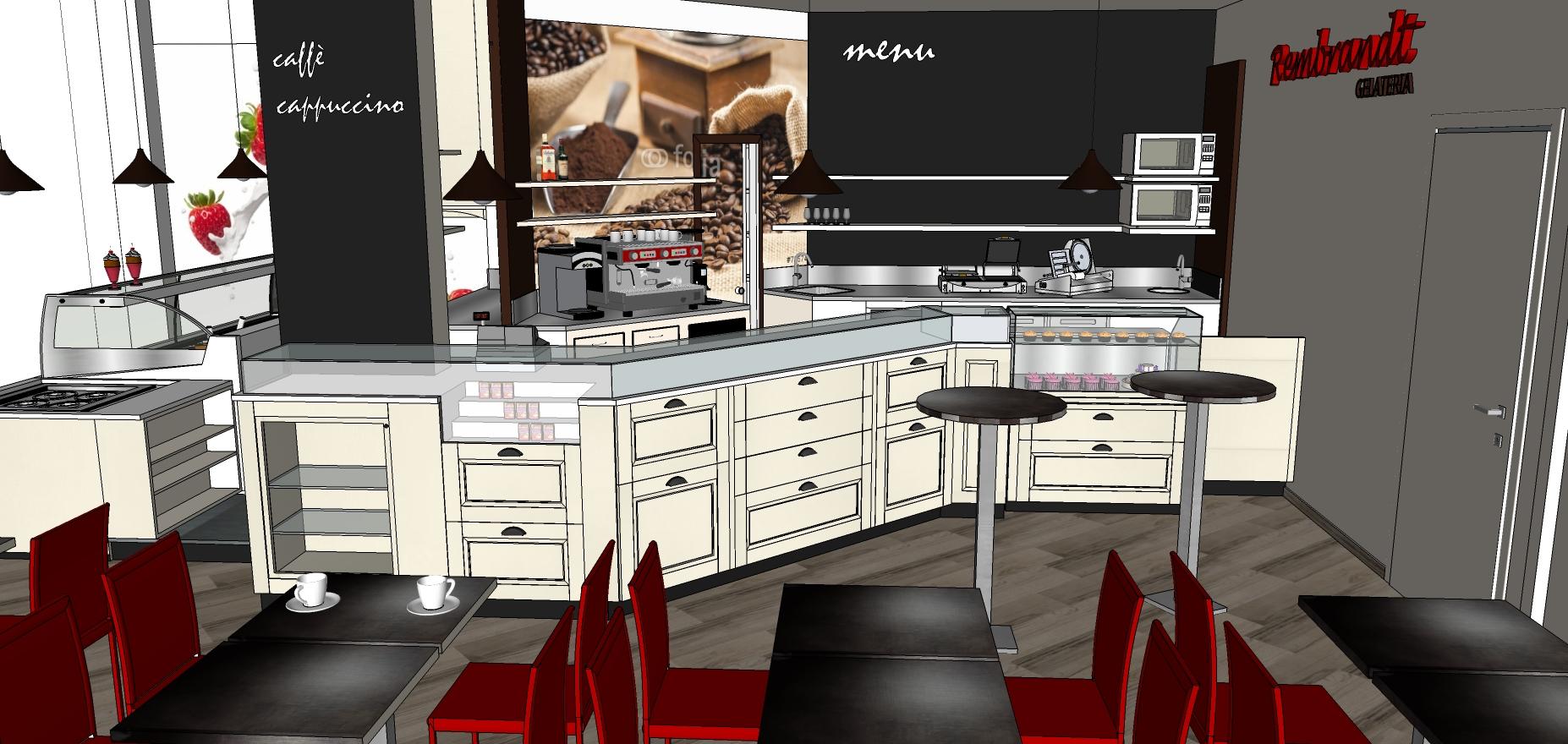 Immagine 3D del lato caffetteria pensata per la Gelateria Caffetteria Rembrandt a Milano