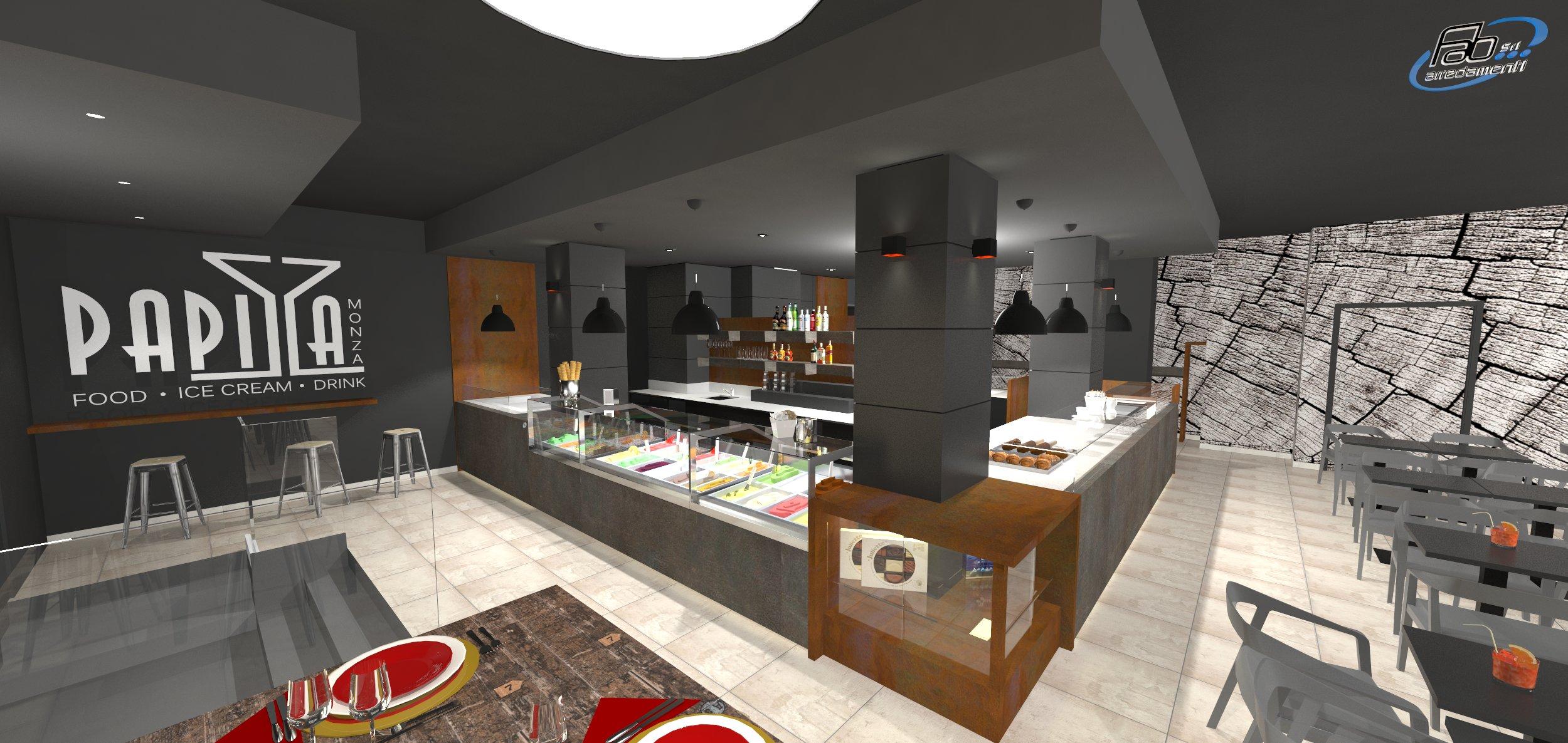 Rendering degli interni presso il Bar Gelateria Enoteca Papilla a Monza