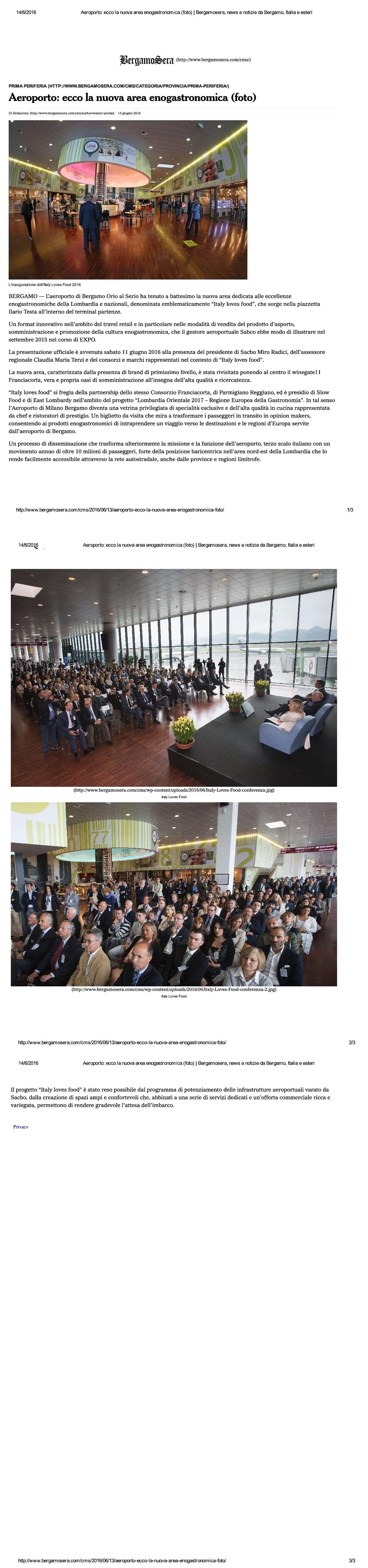 Articolo di Bergamo Sera sulla nuova area enogastronomica al Ristorante Wine Gate 11 presso l'Aeroporto di Orio al Serio