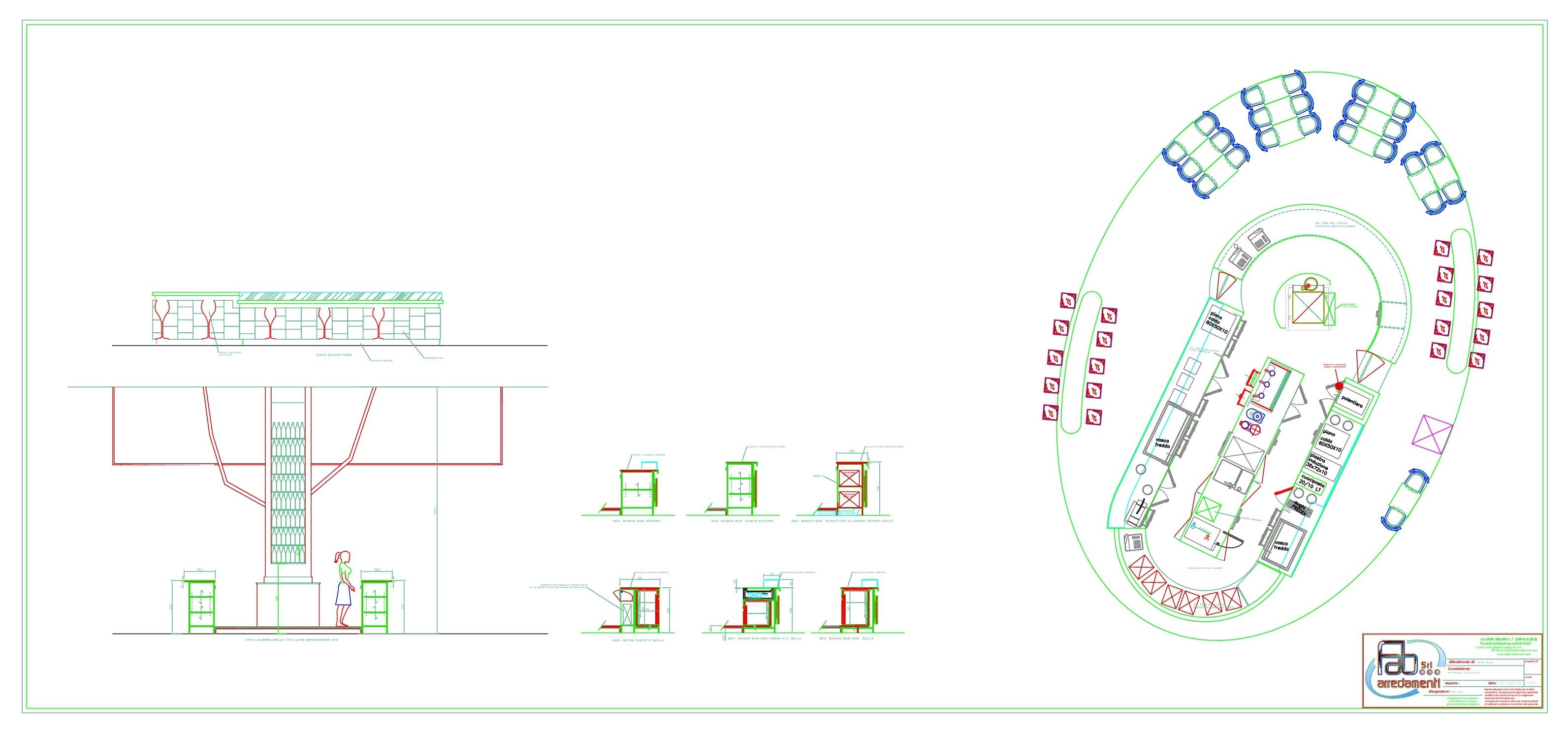 Piantina della realizzazione del Ristorante Wine Gate 11 presso l'Aeroporto di Orio al Serio