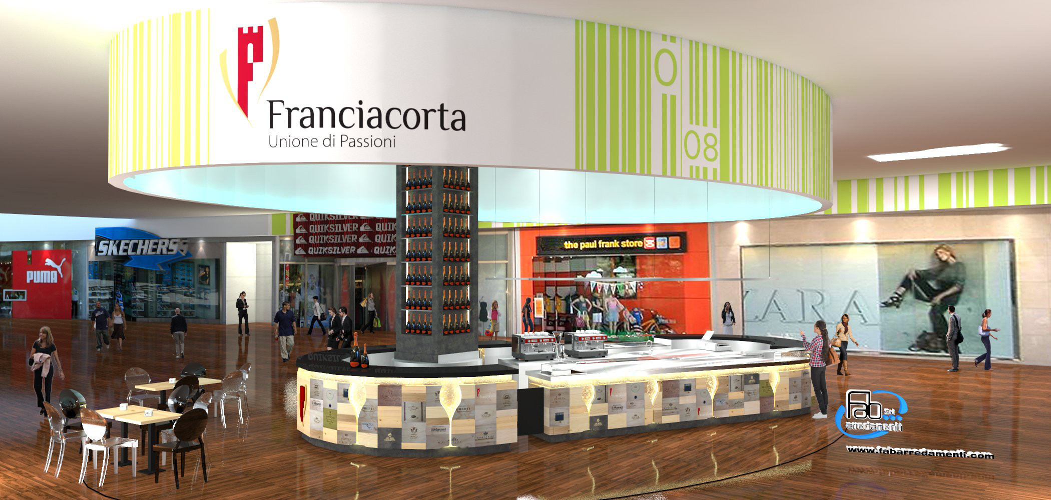 Rendering del bancone principale del Ristorante Wine Gate 11 presso l'Aeroporto di Orio al Serio
