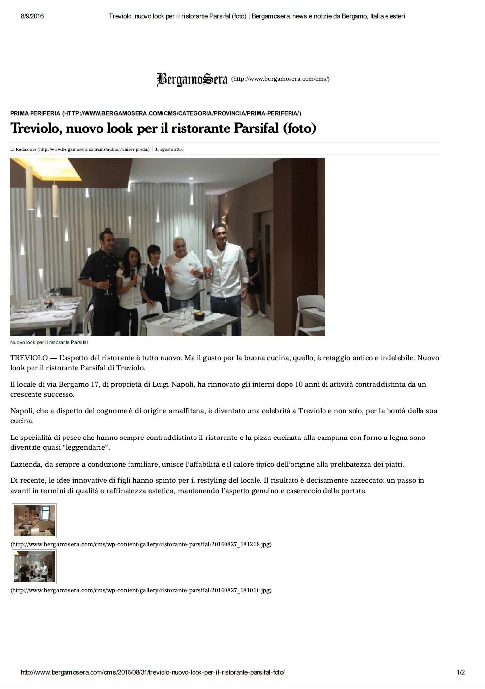 Articolo di Bergamo Sera dell'8 Agosto 2016 sul Ristorante Pizzeria Parsifal a Treviolo, Bergamo