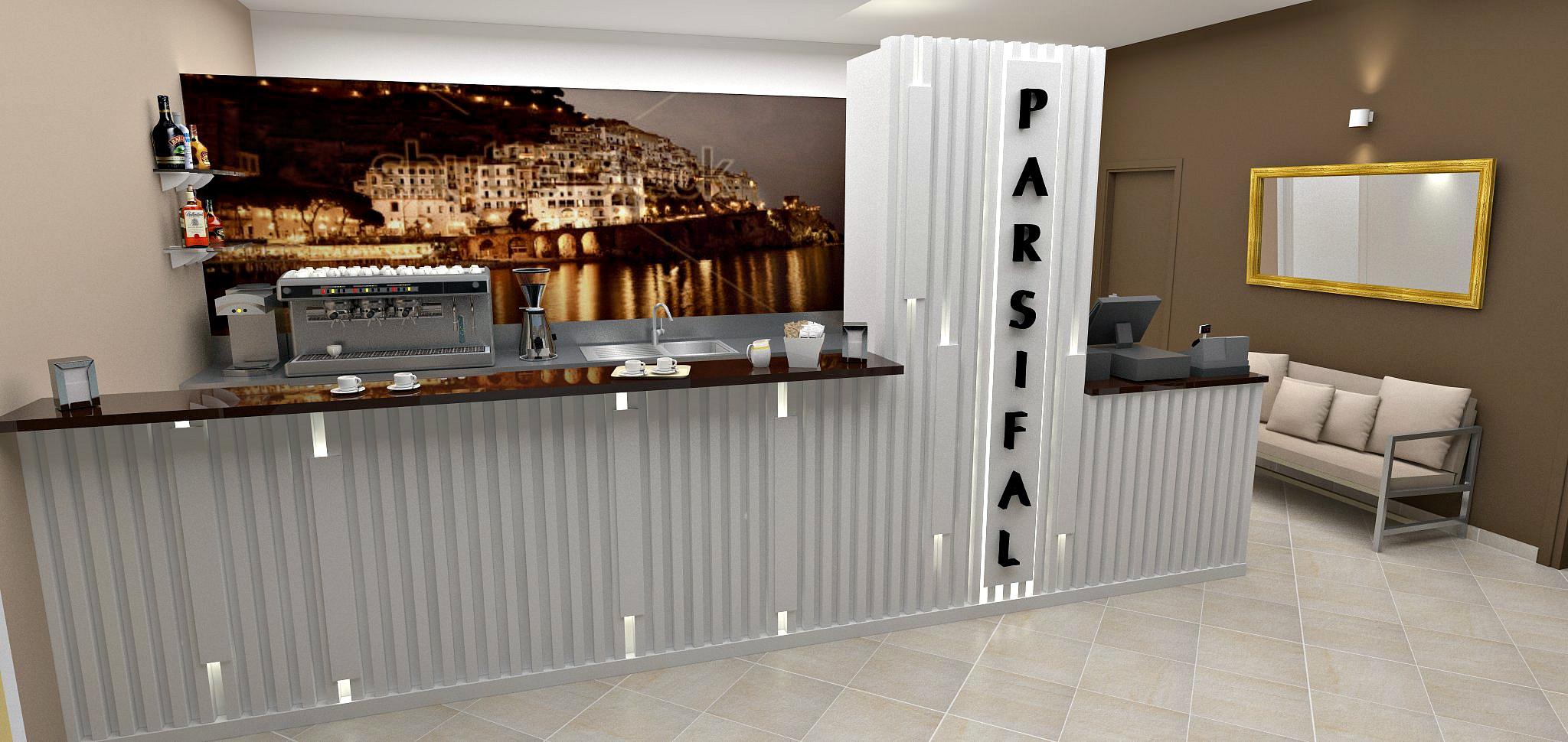 Rendering del bancone bar presso il Ristorante Pizzeria Parsifal a Curnasco in Provincia di Bergamo