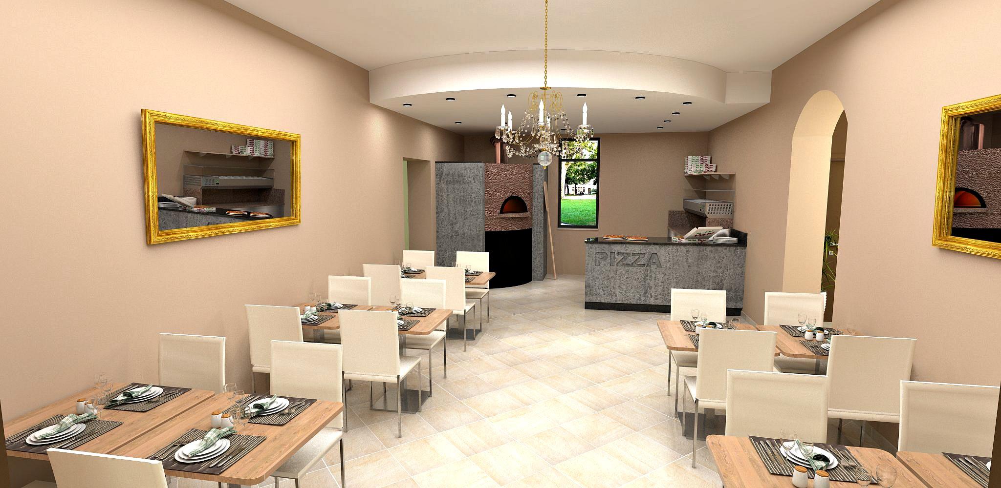 Bozza di realizzazione per la sala con angolo pizzeria per il Ristorante Pizzeria Parsifal a Curnasco in Provincia di Bergamo