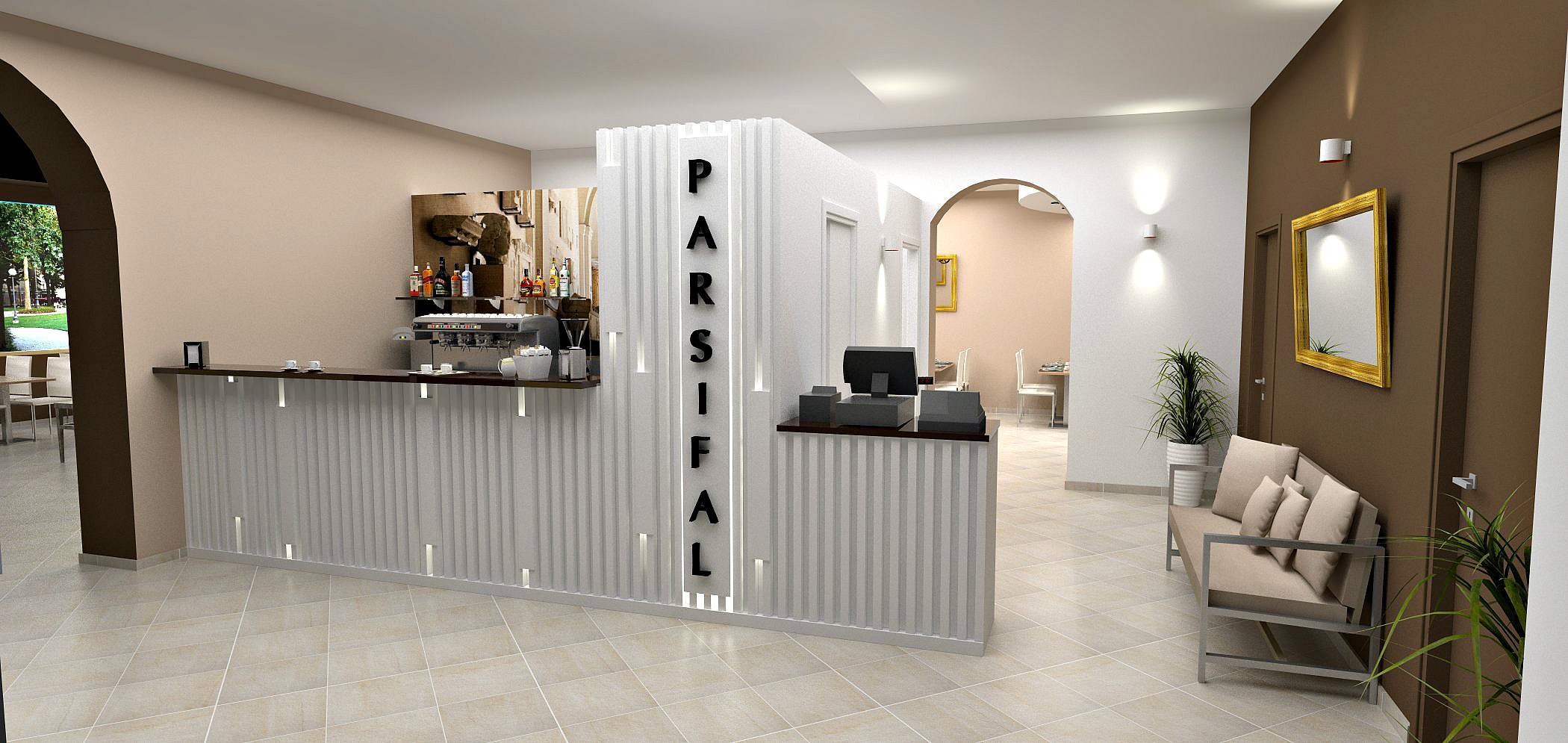 Rendering dell'ingresso pensato per il Ristorante Pizzeria Parsifal a Curnasco in Provincia di Bergamo