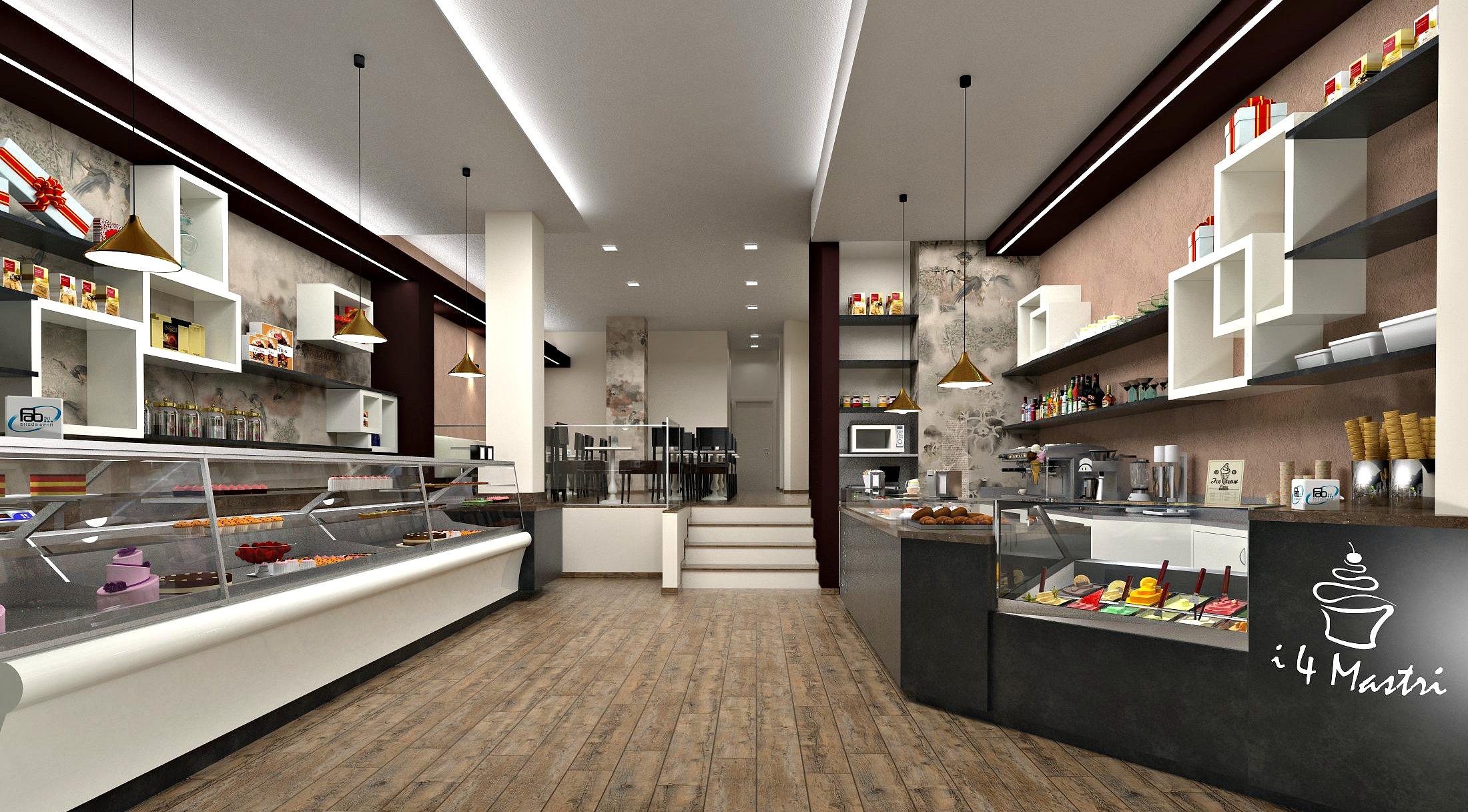 Foto di un possibile progetto per l'ingresso della Vista del banco caffetteria gelateria presso la Pasticceria Caffetteria i 4 Mastri a Milano