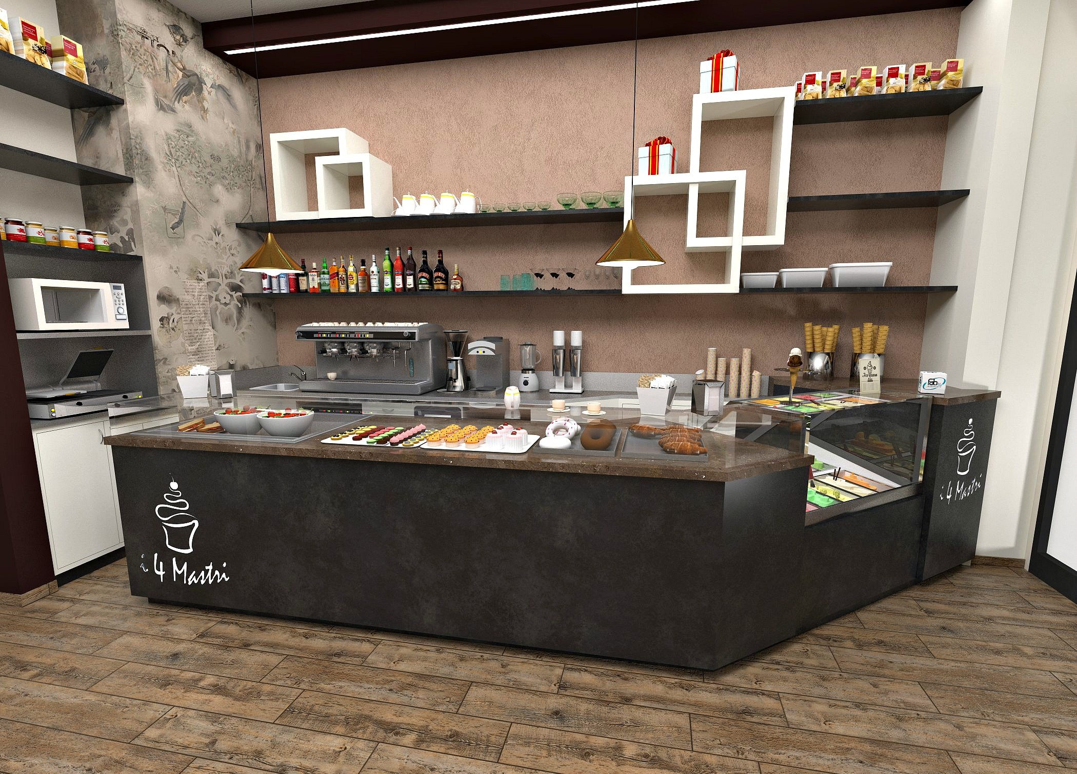 Foto di un progetto per il banco del bar alla Pasticceria Caffetteria i 4 Mastri a Milano