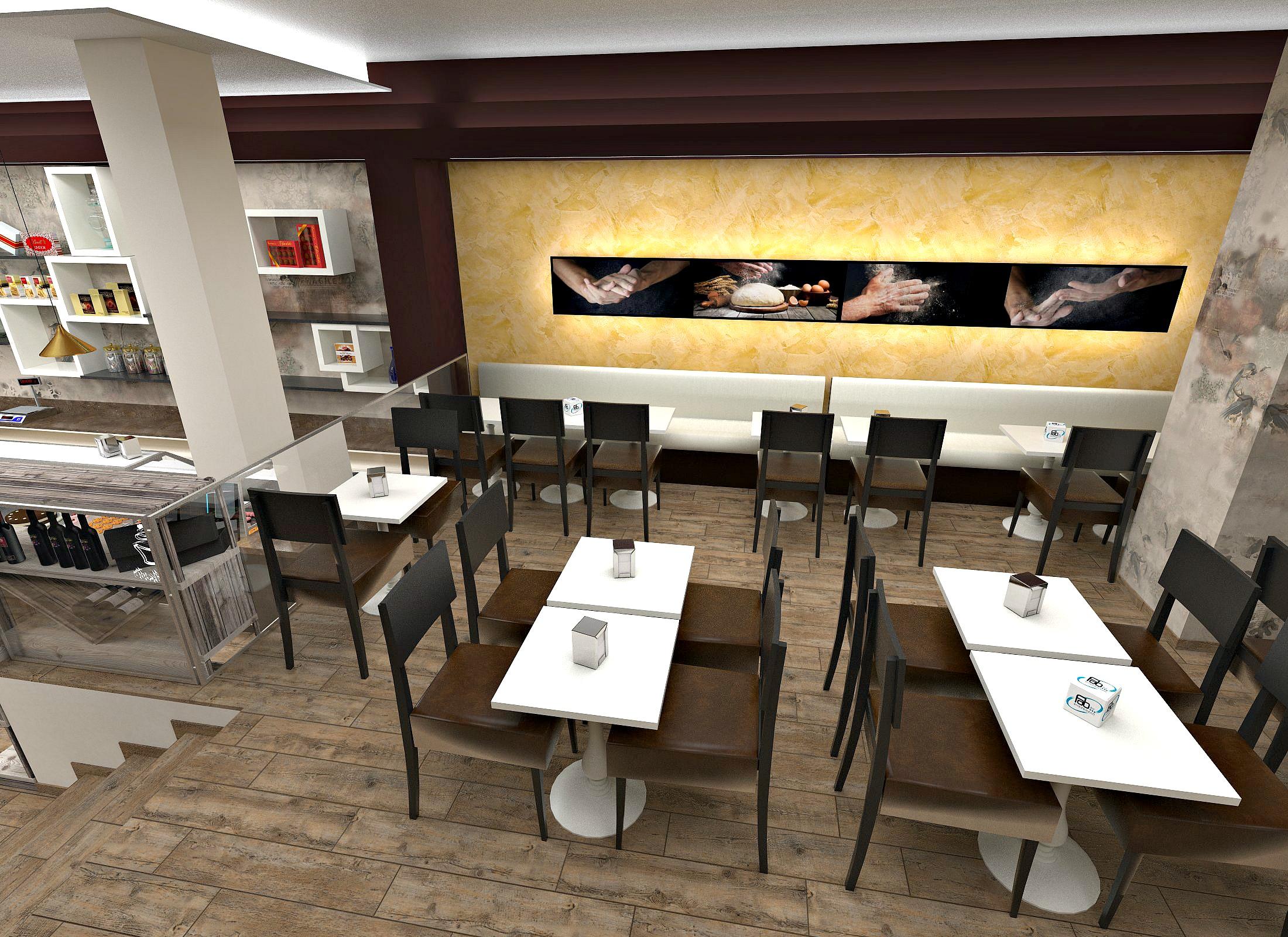 Foto di una possibile proposta di arredo presso la Vista del banco caffetteria gelateria presso la Pasticceria Caffetteria i 4 Mastri a Milano