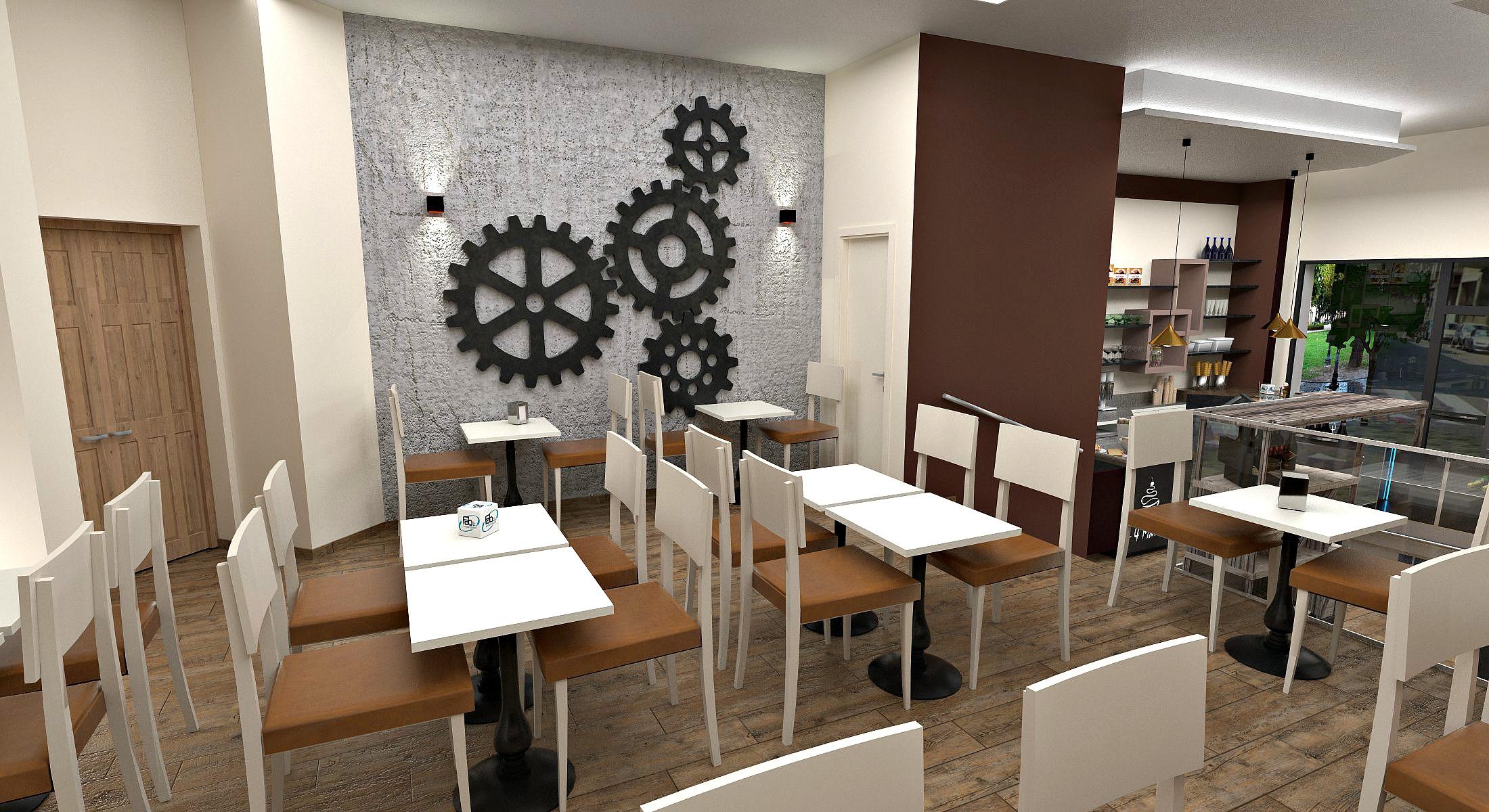 Foto dei tavolini con sedie ed ingranaggi appesi al muro presso la Pasticceria Caffetteria i 4 Mastri a Milano