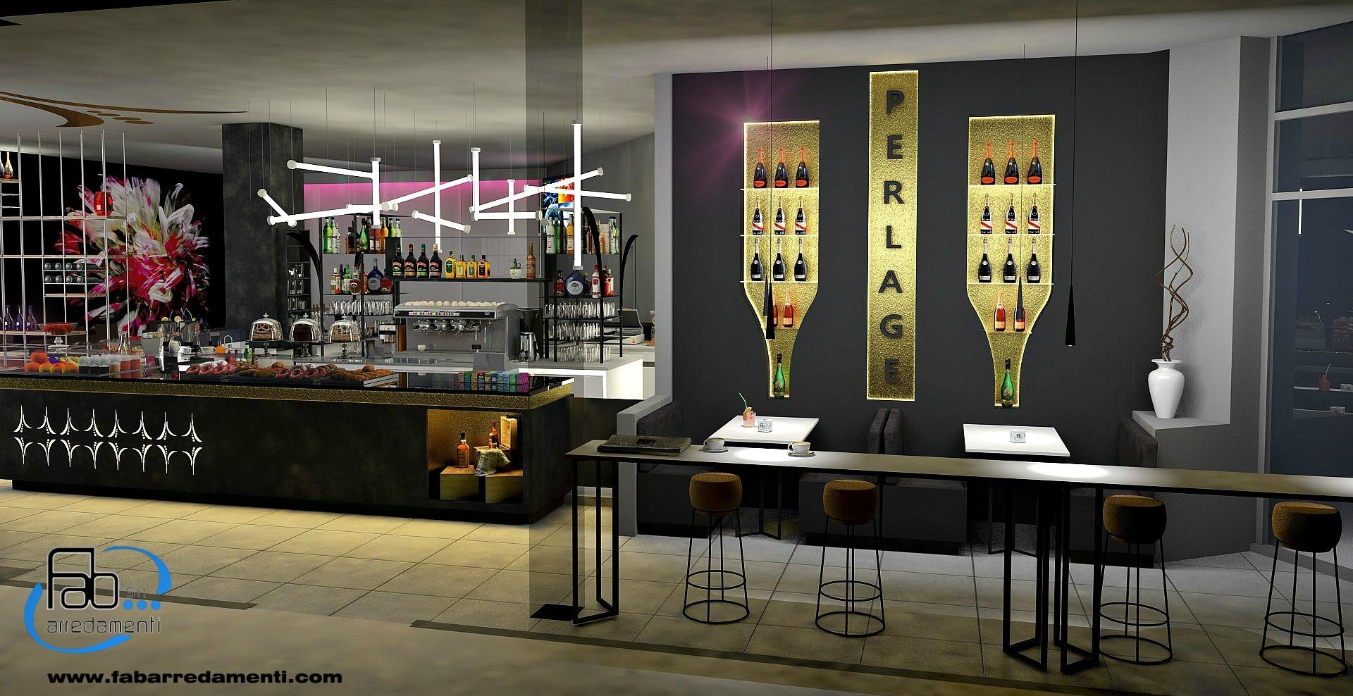 Rendering di realizzazione dell'interno del Perlage Coffee & Lounge Bar a Bonate Sopra