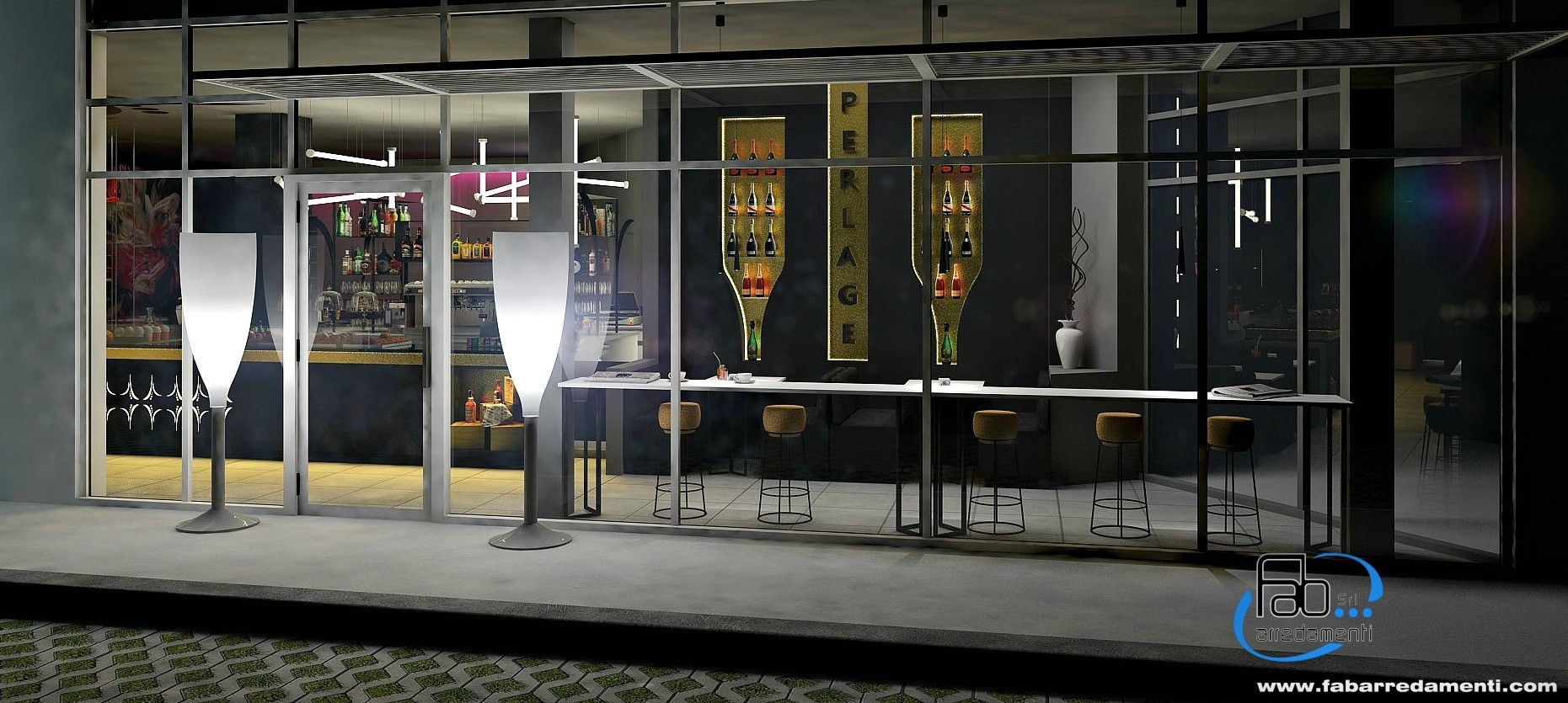 Rendering con vista all'esterno del Perlage Coffee & Lounge Bar a Bonate Sopra
