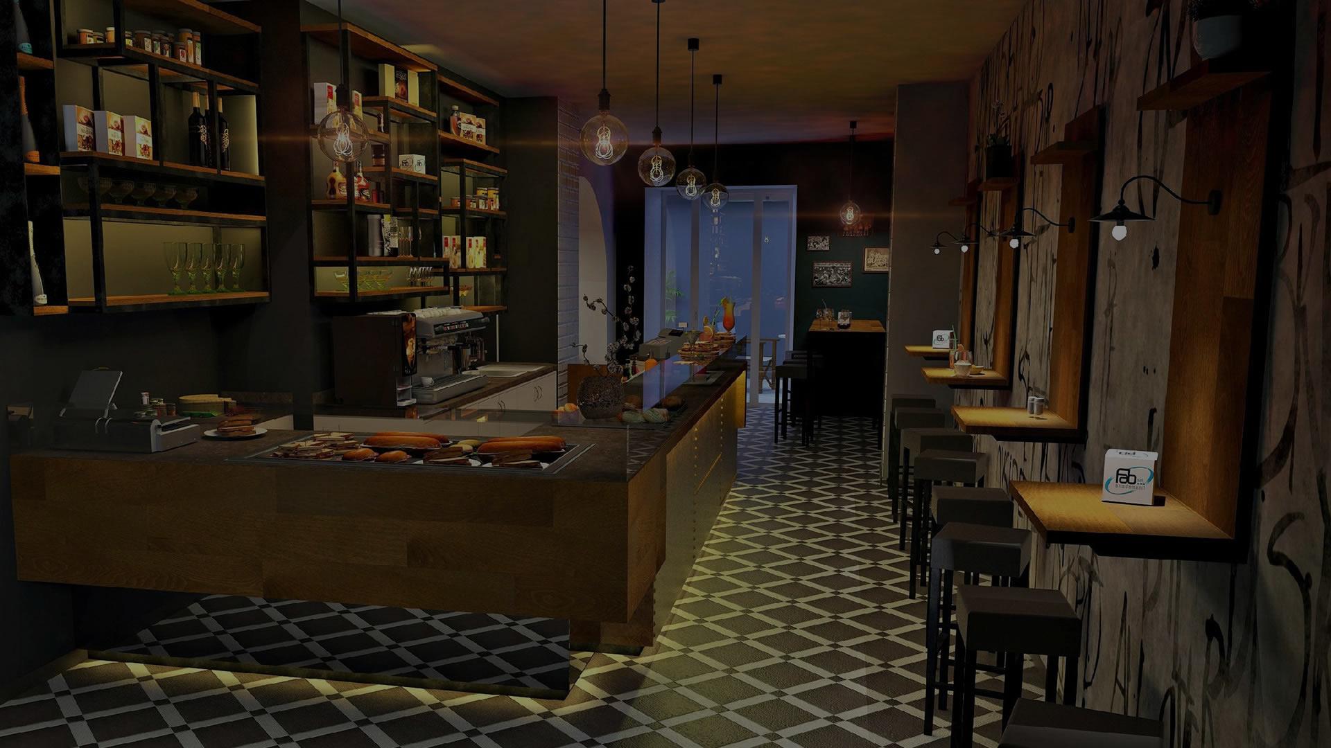 Panoramica di bar interamente ristrutturato e arredato su misura